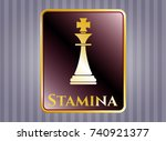 gold badge or emblem with... | Shutterstock .eps vector #740921377