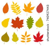 decorative set of isolated... | Shutterstock . vector #740927443