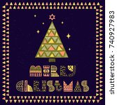 an illustrated christmas card.... | Shutterstock .eps vector #740927983