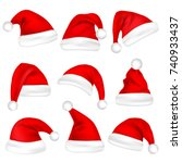 christmas santa claus hats set. ...
