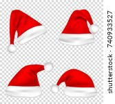 christmas santa claus hats set. ... | Shutterstock .eps vector #740933527