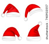 christmas santa claus hats set. ... | Shutterstock .eps vector #740933557