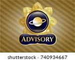golden badge with planet ... | Shutterstock .eps vector #740934667