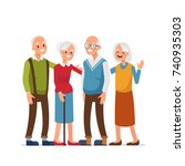 elderly people with friends ... | Shutterstock .eps vector #740935303