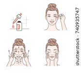 woman take care about face.... | Shutterstock .eps vector #740935747