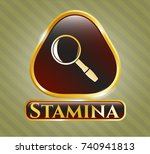 golden badge with magnifying... | Shutterstock .eps vector #740941813