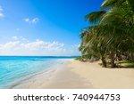 mahahual caribbean beach in... | Shutterstock . vector #740944753