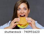 close up portrait of hungry... | Shutterstock . vector #740951623