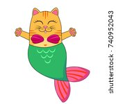 cute cat mermaid | Shutterstock .eps vector #740952043