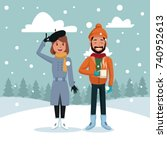 couple in winter cartoon | Shutterstock .eps vector #740952613