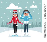 sport ski couple | Shutterstock .eps vector #740952997