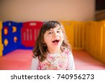 portrait of little beautiful... | Shutterstock . vector #740956273