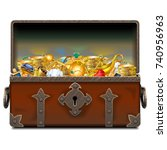 vector old pirate forged chest... | Shutterstock .eps vector #740956963