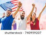 american fans cheering at... | Shutterstock . vector #740959207