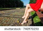 legs of a woman sitting on a... | Shutterstock . vector #740970253