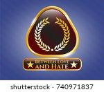 shiny badge with laurel wreath ... | Shutterstock .eps vector #740971837