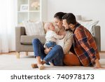 family  parenthood and people... | Shutterstock . vector #740978173