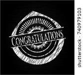 congratulations chalk emblem... | Shutterstock .eps vector #740979103