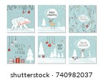 set of 6 cute christmas gift... | Shutterstock . vector #740982037