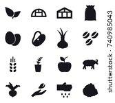 16 vector icon set   greenhouse ... | Shutterstock .eps vector #740985043