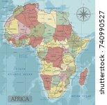 detailed africa political map... | Shutterstock .eps vector #740990527