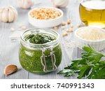 homemade parsley pesto sauce... | Shutterstock . vector #740991343