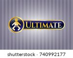 gold shiny emblem with baby... | Shutterstock .eps vector #740992177