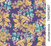 beautiful floral seamless... | Shutterstock . vector #740992807