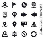 16 vector icon set   pointer ... | Shutterstock .eps vector #740997313