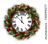 2018 new year round clock with... | Shutterstock .eps vector #740999077