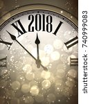 2018 new year sepia background... | Shutterstock .eps vector #740999083