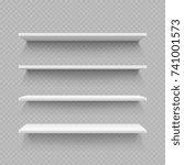 empty white shop shelf isolated ... | Shutterstock .eps vector #741001573
