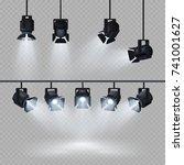 spotlights with white light... | Shutterstock .eps vector #741001627