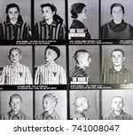 Small photo of AUSCHWITZ BIRKENAU POLAND 09 17 17: Concentration camp victims photos in German Nazi concentration camps and extermination camps built and operated by the Third Reich in Poland.