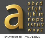 golden luxury 3d alphabet ... | Shutterstock .eps vector #741013027