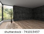 spacious empty room with... | Shutterstock . vector #741015457