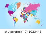 color world map | Shutterstock .eps vector #741023443