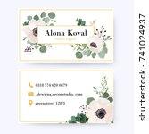 floral business card design.... | Shutterstock .eps vector #741024937