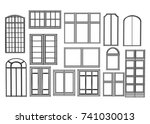 set of windows isolated on... | Shutterstock .eps vector #741030013