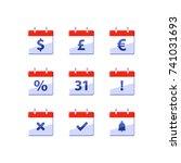 financial red calendar  dollar... | Shutterstock .eps vector #741031693