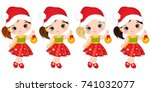 vector cute little girls with... | Shutterstock .eps vector #741032077