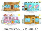 set of exteriors of little cute