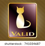 gold emblem with cat icon and... | Shutterstock .eps vector #741034687