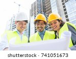 architects and civil engineers... | Shutterstock . vector #741051673