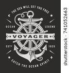 vintage nautical voyager... | Shutterstock . vector #741052663