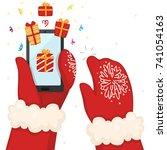 hands holds a smart phone ... | Shutterstock .eps vector #741054163