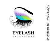 eyelash extension logo. makeup... | Shutterstock .eps vector #741056647