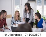 creative agency colleagues... | Shutterstock . vector #741063577