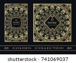 golden doodle mandala geometric ... | Shutterstock .eps vector #741069037
