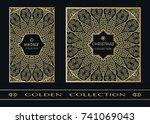 golden doodle mandala geometric ... | Shutterstock .eps vector #741069043